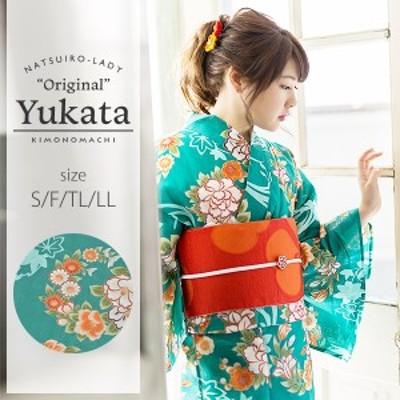 京都きもの町オリジナル 浴衣単品「青緑色 花の丸紋」女性浴衣 綿浴衣 レトロss2103ykl20