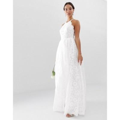 エイソス レディース ワンピース トップス ASOS EDITION lace halter neck maxi wedding dress