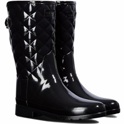 ハンター(HUNTER) リファインド キルテッド グロス ショート ブラック WFS1029RGL 【レディース 長靴 雨具 レインシューズ 通勤通学】