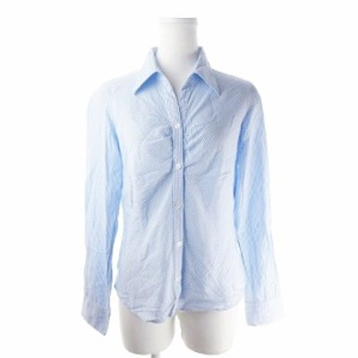 【中古】コムサイズム COMME CA ISM シャツ オープンカラー 長袖 ストライプ L 青 ブルー /AH15 ☆ レディース