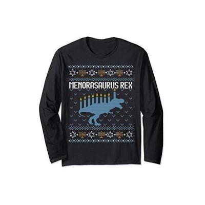 Hanukkah Ugly Sweater Jewish Gift Menorasaurus Rex Menorah 長袖Tシャツ