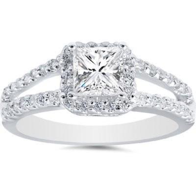 アンブランデッド 14k White Gold 1ct TDW Princess Diamond Halo Split Shank Engagement Ring