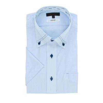 【タカキュー】 形態安定抗菌防臭レギュラーフィット ボタンダウン半袖シャツ メンズ サックス LL(XL) TAKA-Q