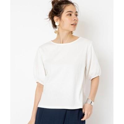 (coen/コーエン)汗染み防止パフスリーブ5分袖Tシャツ/レディース WHITE