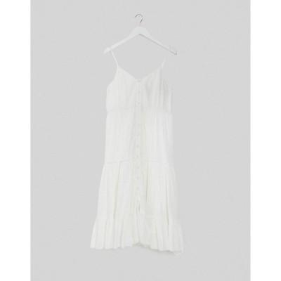 エイソス レディース ワンピース トップス ASOS DESIGN button through tiered cami midi sundress in white White