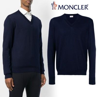 4 MONCLER モンクレール  ネイビー ハイゲージ Vネック ニット/セーター 9101500 91S0N