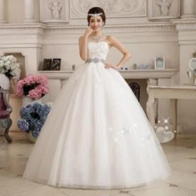 花嫁 プリンセスライン 冠婚 ワンピース イブニングドレス ロング フォーマル 同窓会 二次会 パーティードレス 結婚式 着痩せ ウエディン