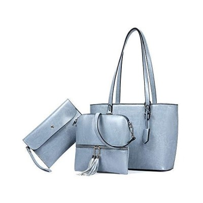 BROMEN Womens Handbag Leather Tote ladies handbags Top Handle Shoulder Bag 3pcs Set Bright Blue 並行輸入品