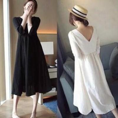 【レディース】長袖 ワンピース: ロング 袖あり シンプル きれいめ リンネル