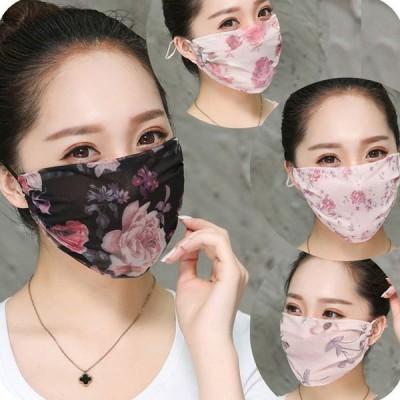 花柄マスク 4枚セット 冷感あるシフォンマスク 通気性優れ、抗紫外線対策 真夏でも快適サラサラ ヒモ調整可能 洗って何度でも使える