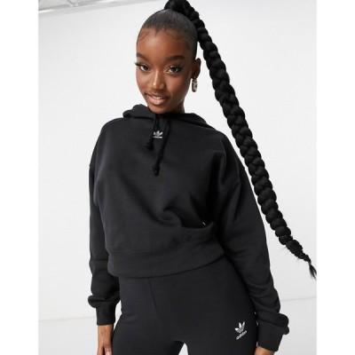 アディダス adidas Originals レディース パーカー トップス Trefoil Essentials Logo Hoodie In Black ブラック