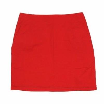 【中古】エックスガール x-girl タイトスカート ミニ丈 コットン ロゴ刺繍 サイズ1 赤 レッド ◎A5 レディース