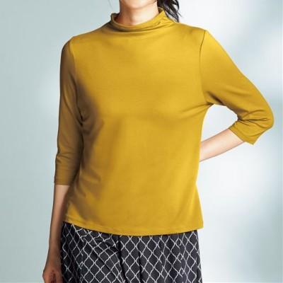 テンセル™繊維混ボトルネック七分袖Tシャツ(日本製)/マスタード/LL