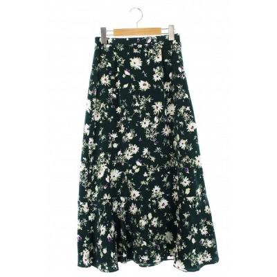 【中古】アーバンリサーチ URBAN RESEARCH 19AW スカート ロング フレア 花柄 F 緑 白 /AO レディース 【ベクトル 古着】