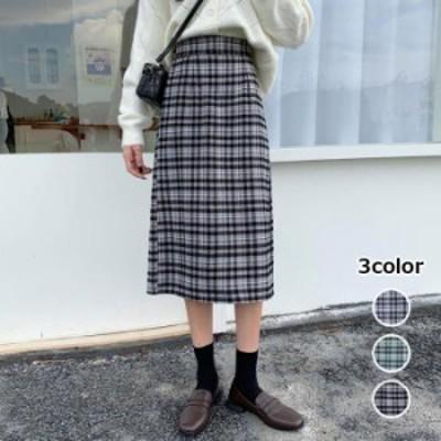 【2020秋冬】【3カラー S-L】脚長効果抜群◎グレンチェックのロングスカート♪ ロングスカート タイト グレンチェック チェック柄 スリ