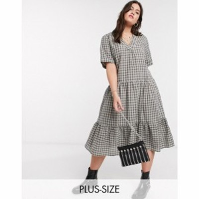 オンリーカーブ Only Curve レディース ワンピース ティアードドレス ティアードスカート Midi Smock Dress With Tiered Skirt In Grey C