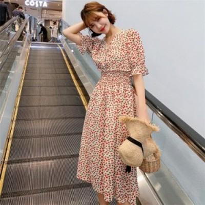 ミモレワンピース レディースワンピース 夏服 ワンピース V襟 花柄 シフォンワンピ 腰括れ Aライン 上品 綺麗め