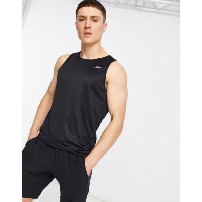リーボック タンクトップ ノースリーブ アームホール メンズ Reebok Running vest in black エイソス ASOS ブラック 黒