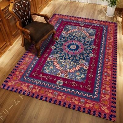 ラグ 夏 カーペット ペルシャペルシャ 絨毯 じゅうたん おしゃれ ウォッシャブルラグ リビング 北欧 ナチュラル ネイビー ブルー 青 レッド 赤 レトロ 洗える