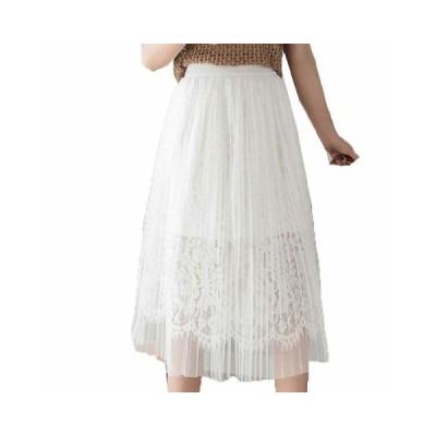 レディース フレア チュールスカート aライン プリーツスカート 膝丈 レース シンプル 可愛い ゆったり 2層チュール フェミニン 上品 優雅