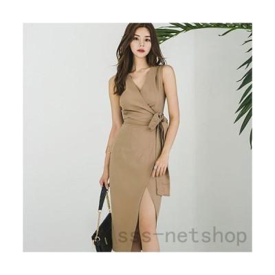 キャバ ドレス キャバドレス ワンピース ミディアムドレス カシュクール ノースリーブ クール シック スリット リボン 大人 ラップ風 キ