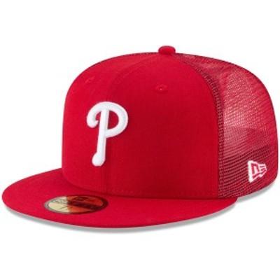 ニューエラ メンズ 帽子 アクセサリー Philadelphia Phillies New Era OnField Replica Mesh Back 59FIFTY Fitted Hat Red