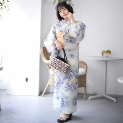 【浴衣単品販売】 ニコアンティーク 艶やか 派手系 浴衣 単品 百合 ベージュ系