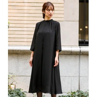 【喪服・礼服】日本製生地使用!洗える防しわ加工前開きスタンドカラーデザインワンピース<大きいサイズ有> ブラックフォーマル, Funeral Outfit
