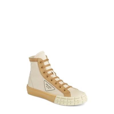 プラダ PRADA レディース スニーカー ハイカット シューズ・靴 Logo High Top Sneaker Beige/Brown