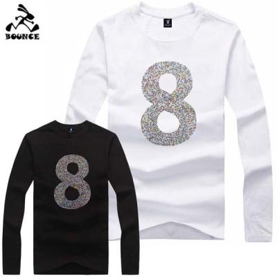新作 送料無料 BOUNCE バウンス マルチ8番 ラインストーンロゴ オリジナル メンズ ながそで 長袖Tシャツ DISCO-J