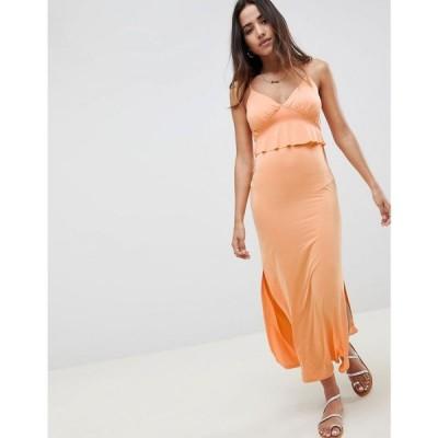 エイソス ASOS DESIGN レディース ワンピース ワンピース・ドレス maxi sundress with ruffle waist in slinky Peach