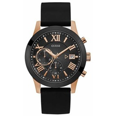 腕時計 ゲス GUESS GUESS Men's Atlas 45mm Black Silicone Band Steel Case Quartz Analog Watch W1055G3