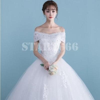 ウエディングドレス安い レース 刺繍 結婚式 花嫁 ロングドレス 二次会 パーティードレス フォーマルドレス 人気 体型カバー 白