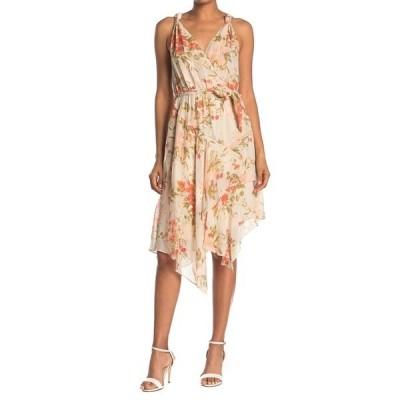 ジョア レディース ワンピース トップス Pharrah Floral Metallic Stripe Handkerchief Hem Silk Dress PEARL