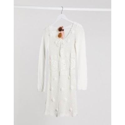 エイソス レディース ワンピース トップス ASOS DESIGN hand crochet knit mini dress White