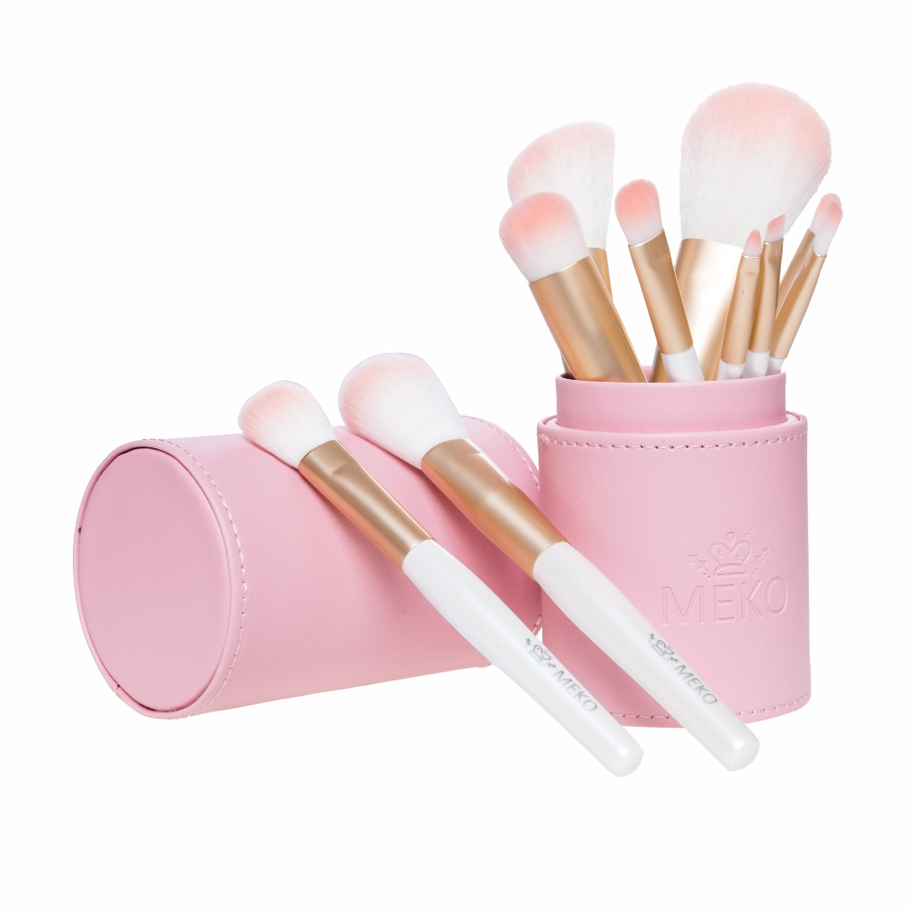 【MEKO】PINK粉嫩刷具10件組(含收納筒)