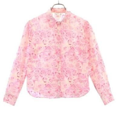 アニエスベー バラ 総柄 長袖 シャツ 2 ピンク agnes b. ブラウス レディース 古着 200924 メール便可
