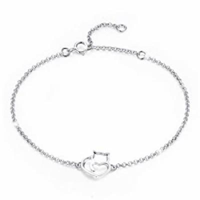 BAMOER 925 Sterling Silver Expandable Cat Bracelet Adjustable Chain Bracelet for Women