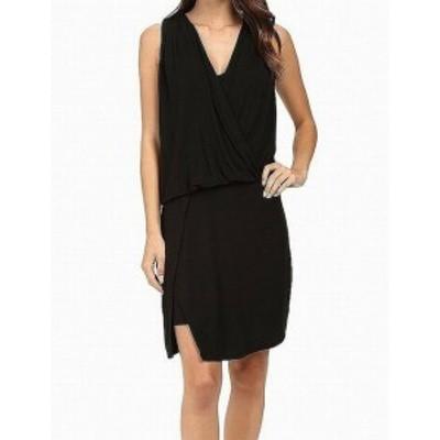 HEATHER  ファッション ドレス HEATHER NEW Black Womens Size P Petite Surplice Draped Sheath Dress