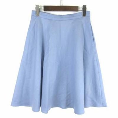 【中古】エムズセレクト m's select スカート ひざ丈 サーキュラー ウールギャバジン ペールブルー 38 ■IBS68