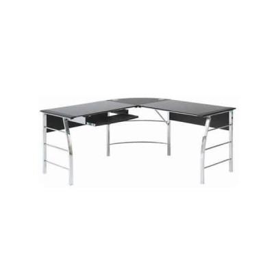 (北海道・沖縄・離島発送不可) テーブル ガラス PCデスク L型 CT-1040BK ブラック 不二貿易 (メーカー直送)(ラッピング不可)