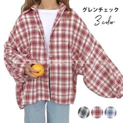 グレンチェックレディースシャツ・ブラウス折り襟ドルマンシャツ長袖バルーンスリーブチェック柄ゆったりルーズ