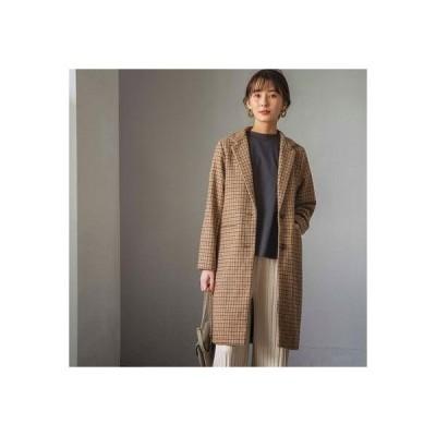 ジーラ GeeRA 【WEB限定】ウールライクチェックチェスターコート (ベージュ系)【Lサイズ】
