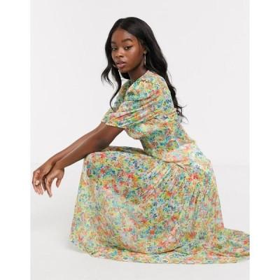 ネバーフリードレスド レディース ワンピース トップス Never Fully Dressed puff sleeve sheer tiered trapeze maxi dress in yellow floral print Multi