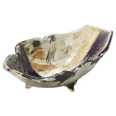 和食 盛鉢 / 紫釉刻紋三つ足舟型鉢 寸法: 21 x 15 x 7.7cm