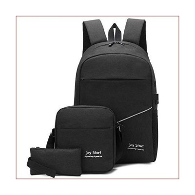 zZZ Three-Piece Student Backpack Business Leisure Travel Outdoor USB Charging/Headphone Hole Black Computer Bag Fashion Single Shoulder Port