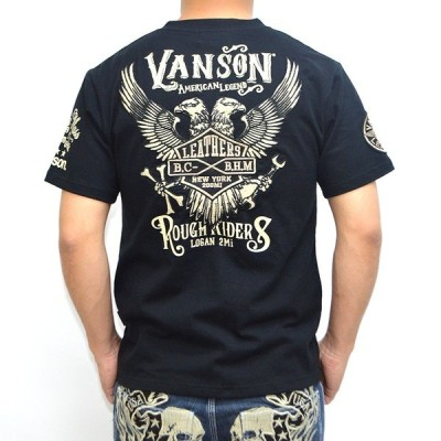 バンソン VANSON 半袖 Tシャツ NVST-706 ブラック色 天竺半袖ヘンリー