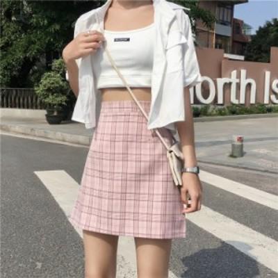 チェック柄ミニスカート 3色 グレー ベージュ ピンク タータンチェック 可愛い キュート 上品 エレガント きれいめ 清楚 シンプル