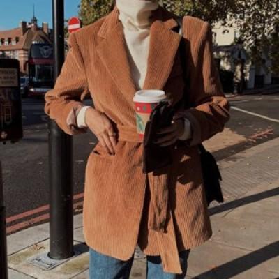 2色 コーデュロイ ジャケット コート ショート丈 レディース アウター おしゃれ かっこいい こなれ感 テーラード 無地 大人カジュアル