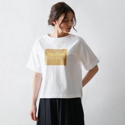 光で浮かびあがるトリックプリントTシャツ オフホワイト S M L LL